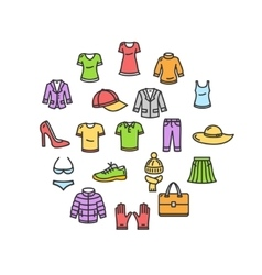 Clothes Round Design Template Thin Line Icon vector