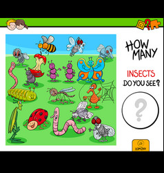 Counting insects and bugs educational game vector