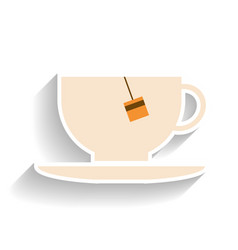cup with tea bag flat color icon object of fast vector image