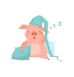 cute little pig in light blue nightcap sleeping on vector image