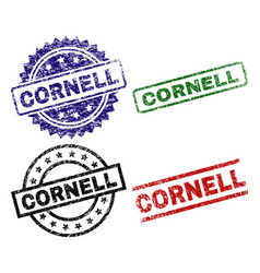 Damaged textured cornell seal stamps vector