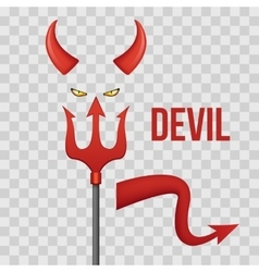 Devil horns trident eyes and tail isolated on vector image