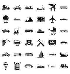 Different transport icons set simple style vector