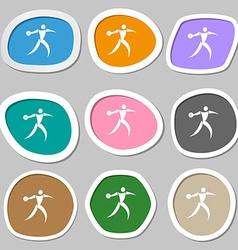 Discus thrower symbols Multicolored paper stickers vector