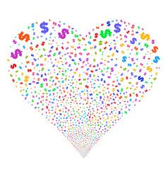 dollar fireworks heart vector image