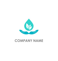 eco droplet hand care logo vector image