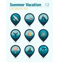 Excursion sea pin map icon set Summer Vacation vector