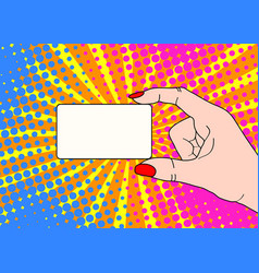 female hand with holding a card on bright dot vector image