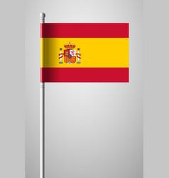 Flag of spain national flag on flagpole isolated vector
