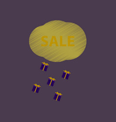 Flat shading style icon sale gift rain vector