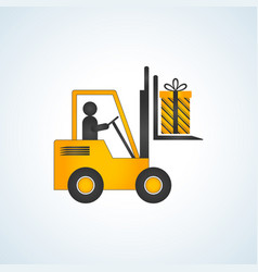 forklift truck with christmas gift box vector image