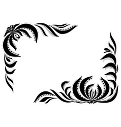 Frame with flowers and leafsblack and white vector