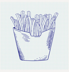 french fries takeaway fast food hand drawn vector image