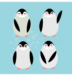Funny penguins on blue background vector image
