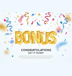 Golden bonus word on falling down confetti vector
