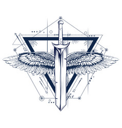 Gothic style sword with wings tattoo vector