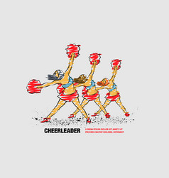 group cheerleaders dances with pom poms vector image
