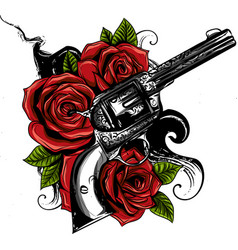Guns and rose flowers drawn in tattoo style vector