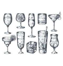 Hand drawn cocktails glasses with alcoholic vector