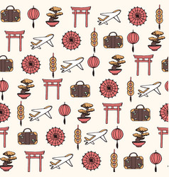 hand drawn travel to asia seamless pattern vector image