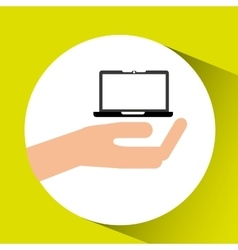 Hand with tablet icon vector