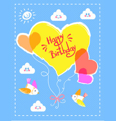 happy birthday colorful card vector image