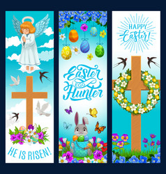 happy easter holiday egg hunt angel and flowers vector image
