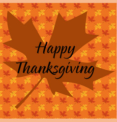 Happy thanksgiving typography on maple leaf vector