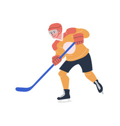 Happy young teenager playing ice hockey game vector