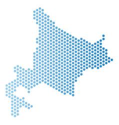Hokkaido island map honeycomb mosaic vector