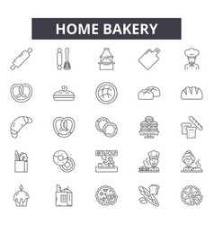 home bakery line icons signs set outline vector image