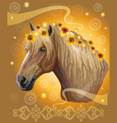 Horse portrait with flowers15 vector