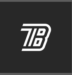 initials tb letters monogram two letters t and b vector image
