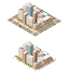 isometric low poly city downtown vector image