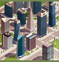 isometric urban skyscrapers composition vector image