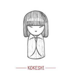 Kokeshi doll in hand drawn style vector