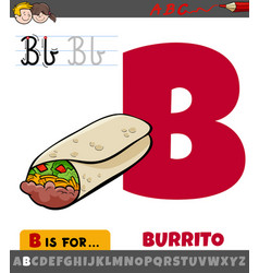 Letter b from alphabet with cartoon burrito vector