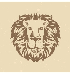 lion head in engraving style vector image vector image