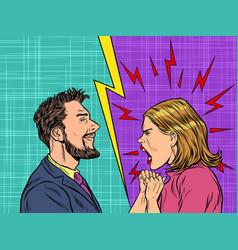 Man and woman dispute emotions scream vector