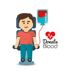 man donating blood icon vector image