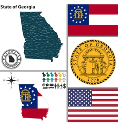 Map georgia with seal vector