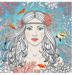 Mermaid girl among corals and fishes vector