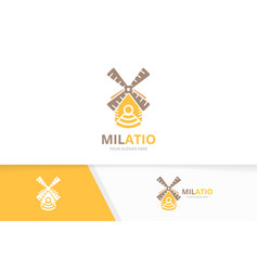 Mill and wifi logo combination farm vector