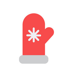 mittens icon with knitted snowflake item vector image