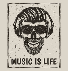 music is life grunge design with hipster vector image