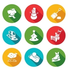 New Years Eve and Christmas Icons Set vector image