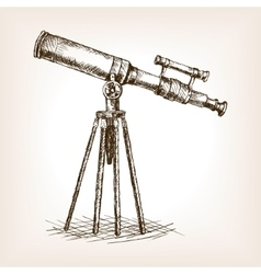 Old telescope hand drawn sketch vector image