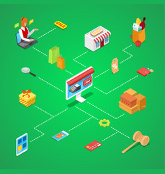 Online shopping isometric 3d infographics vector