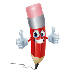 Pencil mascot man vector