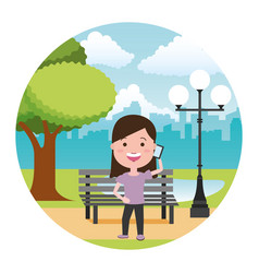 people with tech on outdoors vector image